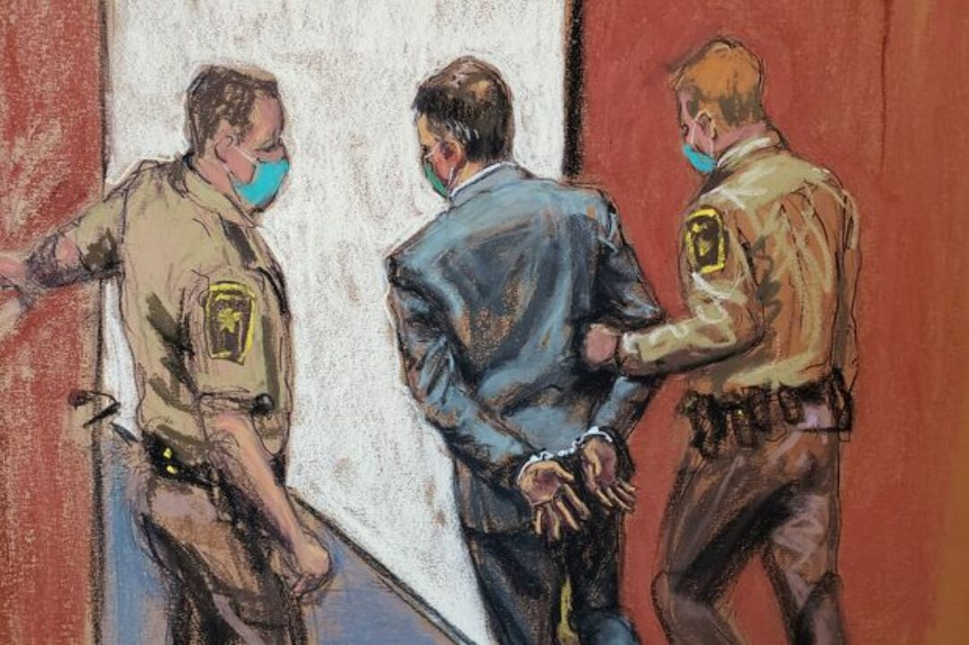 In this courtroom sketch, former Minneapolis police officer Derek Chauvin is led away in handcuffs after a jury found him guilty on all counts.JANE ROSENBERG/REUTERS